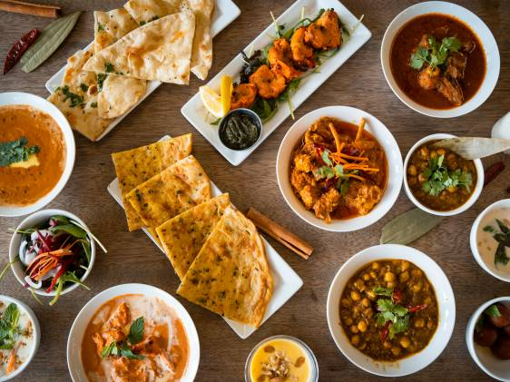 Table top view of Indian food.
