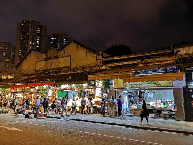 Yau Ma Tei Fruit Market by night in Kowloon
